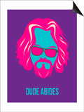 Dude Abides Purple Poster Posters by Anna Malkin