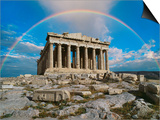 Rainbow in Sky, Parthenon, Greece Poster by Peter Walton