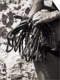 Detail of Hands with Climbing Equipments Print by Paul Sutton