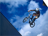 Bmx Cyclist Flys over the Vert Posters