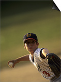 Young Boy Pitching During a Little League Baseball Games Posters