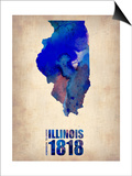 Illinois Watercolor Map Prints by  NaxArt