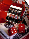 Dice, Slot Machine, Chips and Card on $100 Bill Prints by Ellen Kamp