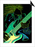 Cosmic Guitar Player Print by Emiko Aumann