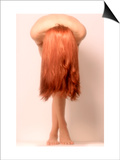 Nude Woman with Long Red Hair in Graceful Pose Posters by Derek Cole