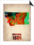Montana Watercolor Map Poster by  NaxArt
