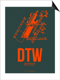 Dtw Detroit Poster 3 Print by  NaxArt