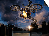 Bmx Cyclist Flys over the Vert Poster