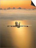 Airplane Flying Through Clouds Print by Peter Walton