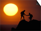 Two Climbers Reach the Summit at Sunrise, Colorado, USA Prints