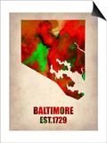 Baltimore Watercolor Map Art by  NaxArt