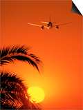 Airplane Flying Over Sunrise Poster by Peter Walton