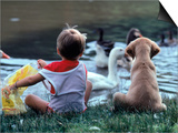 Little Boy and Puppy Looking at Ducks in Pond Art by Katie Deits