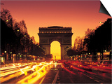 Paris, France, Arc De Triomphe at Night Prints by Peter Adams