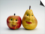 Paper Apple and Pear with Faces Prints by Winfred Evers