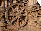 Architectural Detail of Stone Carved Chariot Wheel in the Temple, Sun Temple, Konark, Orissa, India Prints