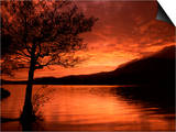 Red Sky at Sunset, Coniston Water, Consiton, Lake District, Cumbria, England, United Kingdom Posters by Pearl Bucknall