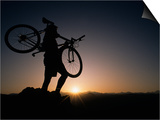 Silhouette of Cyclistist at Sunrise, Boulder, Colorado, USA Art