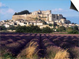 Grignan Chateau and Leavender Field, Grignan, Drome, Rhone Alpes, France Print by Charles Bowman