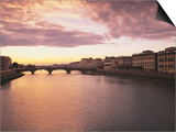 Sunset, Arno River, Tuscany, Italy Posters by Walter Bibikow