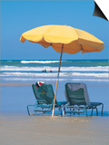 Yellow Beach Umbrella Posters af Mark Gibson