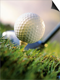 Golf Ball on Wooden Tee with Driver in Background Prints by Eric Kamp