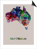 Australia Color Splatter Map Print by  NaxArt