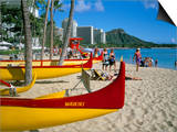 Waikiki Beach, Honolulu, Oahu, Hawaiian Islands, United States of America, Pacific, North America Prints by Geoff Renner