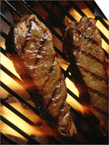 Steaks Cooking on Grill Prints by Dennis Lane