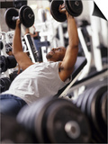 Male Working Out with Weights in a Health Club, Rutland, Vermont, USA Prints by Chris Trotman