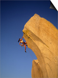 Woman Climbing Cliff Wall Posters by Greg Epperson