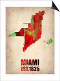 Miami Watercolor Map Print by  NaxArt