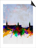 Stockholm Watercolor Skyline Prints by  NaxArt
