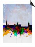 Stockholm Watercolor Skyline Prints by  NaxArt