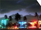 View of South Beach at Night, Miami, FL Prints by Terry Why