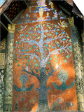 Glass Mosaic of Tree of Life on Wall of the 16th Century Sim, Wat Xiang Thong, Luang Prabang, Laos Posters by Richard Ashworth
