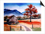 Kentucky Barn with Blue Mountains in Background Posters by Rich LaPenna