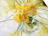 Yellow Tea Rosa in Glass Vase Posters by Martine Mouchy