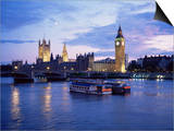 Houses of Parliament at Night, London, England, United Kingdom Prints by Charles Bowman