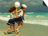 Two Girls in Sailor Suits Running on Beach Prints by Christine Lowe