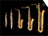 Different Sized Saxophones Poster by Gary Conner