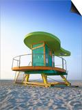 Lifeguard Hut in Art Deco Style, South Beach, Miami Beach, Miami, Florida, USA Poster by Gavin Hellier