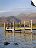 Wooden Jetty at Barrow Bay Landing on Derwent Water Looking North to Skiddaw in Autumn Posters by Pearl Bucknall