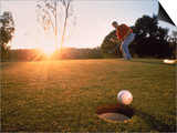 Man Hitting Golf Ball Art