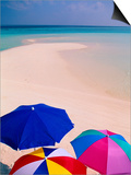 Umbrellas on Beach, Maldives Prints by Stuart Westmorland