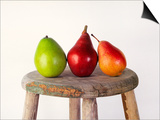 Still Life of 3 Pears on a Milk Stool Print by Diane Miller