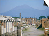 Vesuvius Volcano from Ruins of Forum Buildings in Roman Town, Pompeii, Campania, Italy Posters by Tony Waltham