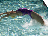 Young Woman Swimming the Backstroke in a Swimming Pool, Bainbridge Island, Washington, USA Art