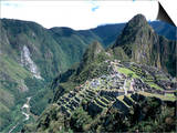 Ruins of Inca Town Site, Seen from South, with Rio Urabamba Below, Unesco World Heritage Site Prints by Tony Waltham