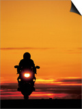 Silhouetted Motorcyclist at Sunset, Marin City, CA Prints by Robert Houser